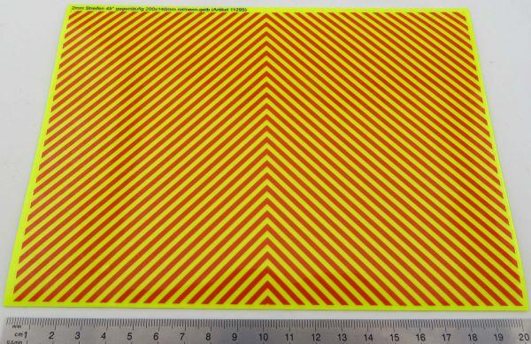 Dekorbogen Warnstreifen NEON-GELB, ca. 200x140mm 2mm-Streife