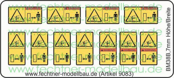 1 Warn-Symbole-Set 7mm hoch/breit,BM38b, 11 Symbole,