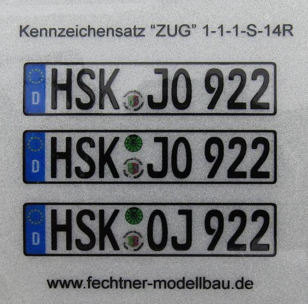 """Euro-Kennzeichen-Set """"""""ZUG"""""""" 1-1-1-S-14R 3"""