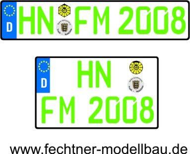 1 Euro-Kennzeichen-Set EINZEL 1-2-G-8, 2