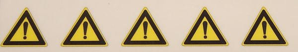 Warndreieck-Symbole-Set 8mm hoch, 5 Symbole, gelb/schwarz