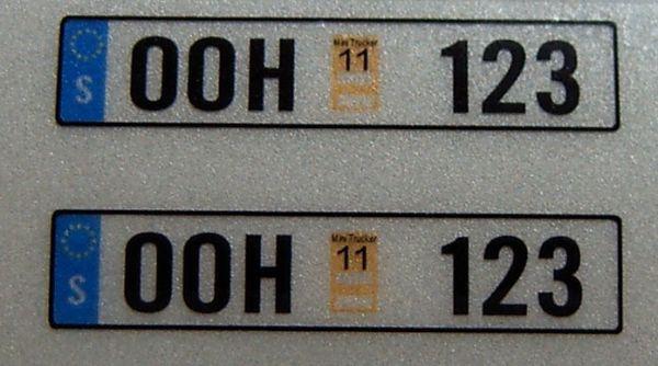 Set of license-plates for SWEDEN. 2 plates,