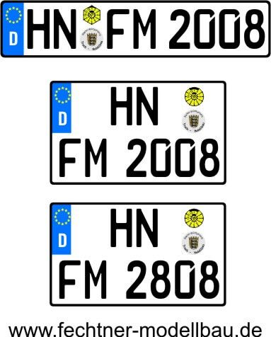 1 Euro-Kennzeichen-Set ZUG 1-2-2-S-16, 3