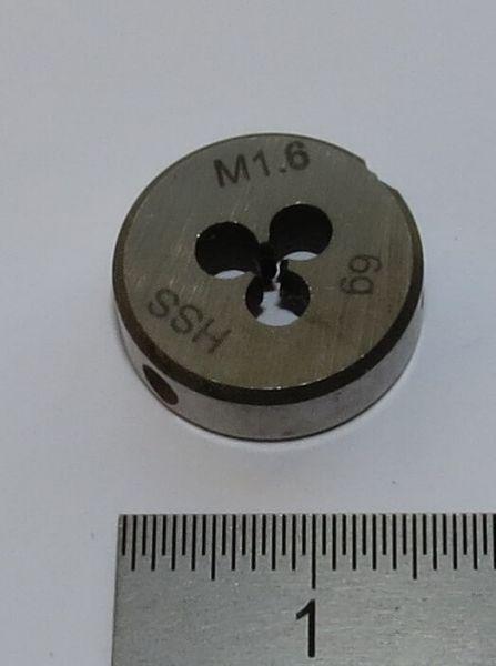 1x Schneideisen DIN 223B HSS M1,6. 16mm Außendurchmesser