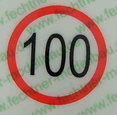 Geschwindigkeitsschild weiss/rot (100) 10mm Durchmesser