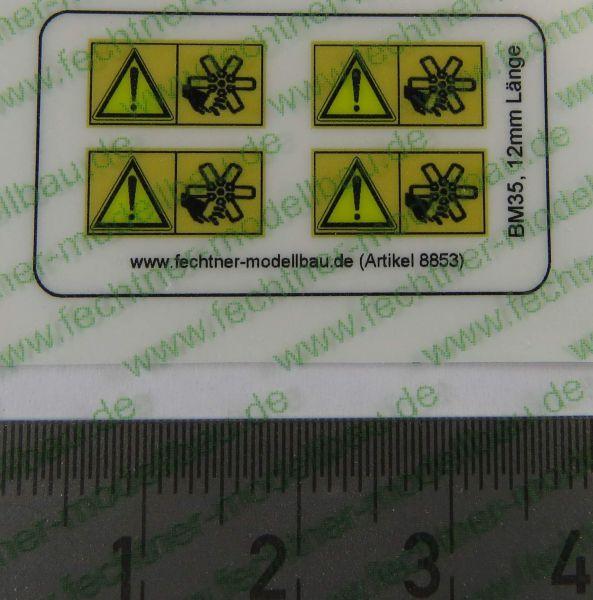 1 Warn-Symbole-Set 12mm breit, BM35, 4 Symbole,