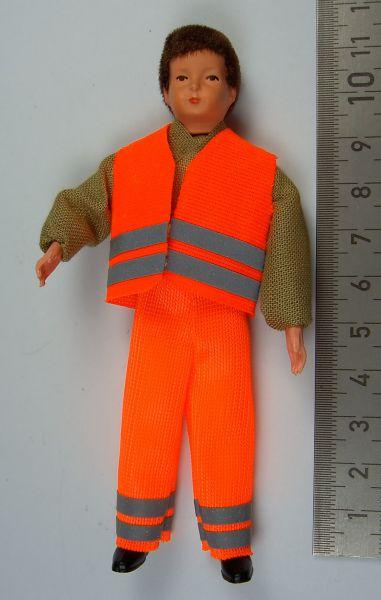 Biegepuppe Arbeiter 11cm hoch mit Warn- Bekleidung (Hose