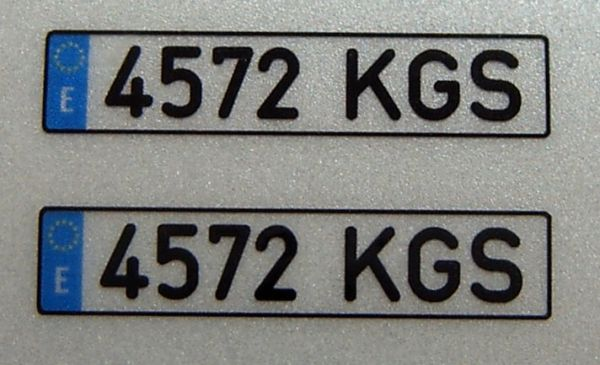 Set of license-plates for SPAIN. 2 plates,