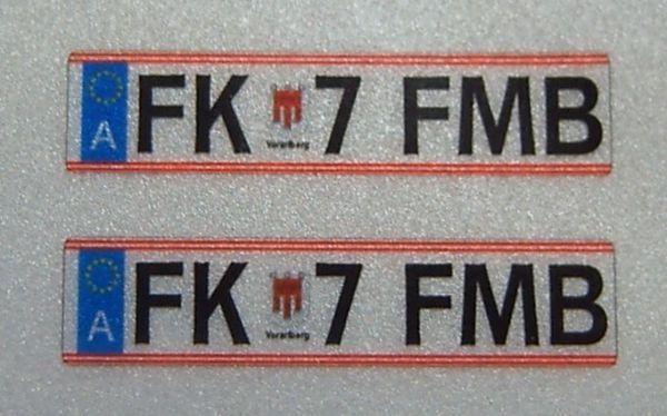 Placas de matrícula establecidos para Austria. Indicador 2,