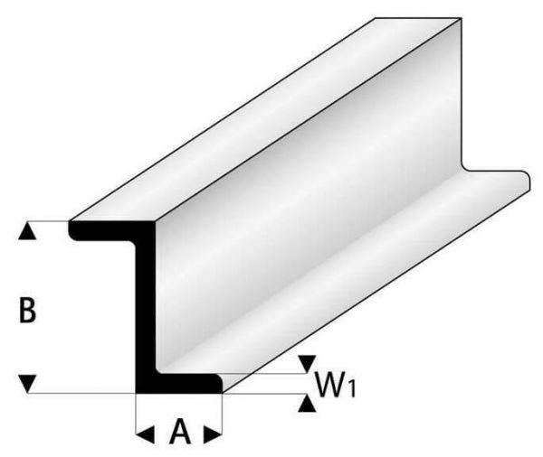 Plastik profil Z profil 3,0x6,0mm 1m uzun, beyaz. güçlendirme