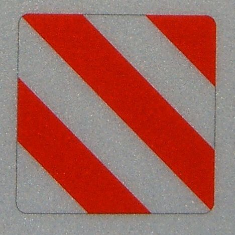 1 piece warning sign OVER SIZE, reflex. Rounded corners, ca