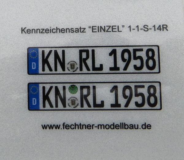 """Euro-Kennzeichen-Set """"EINZEL"""" 1-1-S-14R 2 Kennzeichen"""