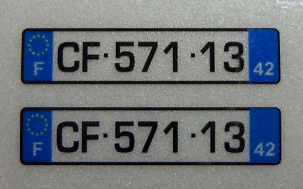 FRANSA için lisans plakalarının ayarlayın. 2 levha,