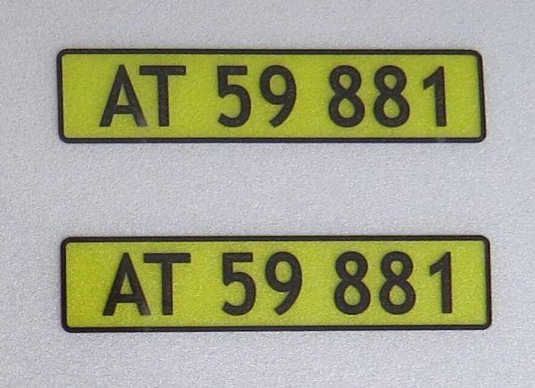 DANİMARKA için lisans plakalarının 1x Seti. 2 levha,