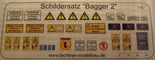 """Decalbogen, Selbstklebefolie """"Bagger2"""" passend zu Maßstab"""
