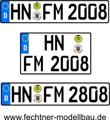 1 Euro-Kennzeichen-Set ZUG 1-2-1-S-8R, 3