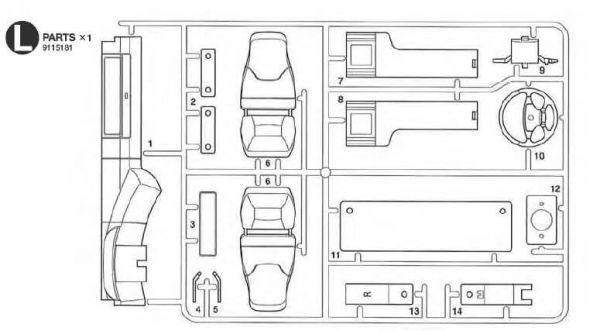 1 injection kit of parts L-parts, white. For Scania
