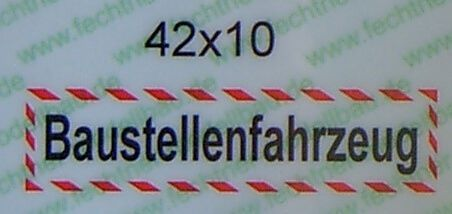 """Textschild """"Baustellenfahrzeug"""" 1-zeilig selbstklebende"""