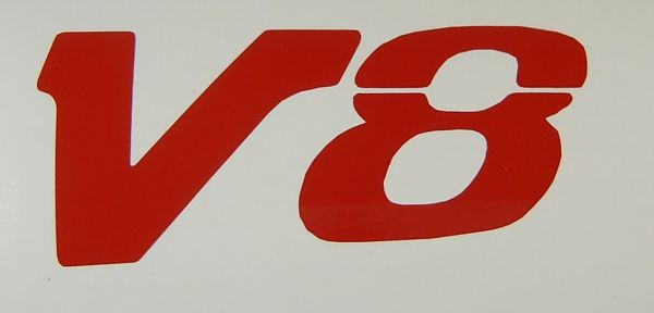 """1 Folien-Decal """"V8""""-Symbol 7mm hoch, """"voll"""",aus"""