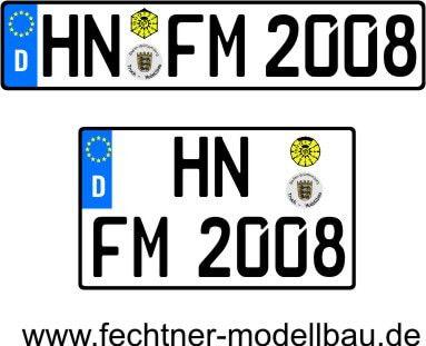 1 Euro-Kennzeichen-Set EINZEL 1-2-S-8, 2