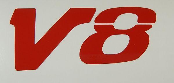 "1 Folien-Decal ""V8""-Symbol 80mm hoch aus hochwertiger"