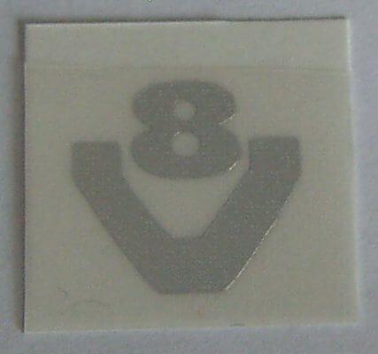 V8-Symbol aus Chromfolie 8mm hoch (1 Paar) geschnitten