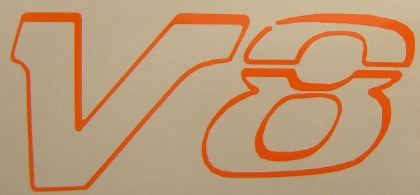 "1 Folien-Decal ""V8""-Symbol 16mm hoch aus hochwertiger"