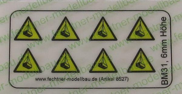 1 uyarı sembolleri ayarlayın 6mm yüksek BM31, 8 simgeler, sarı / siyah