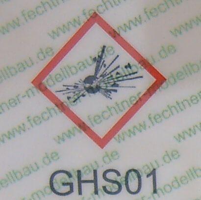 gedruckte Gefahrgutzettel (WDC-Maßstab) GHS01 laut