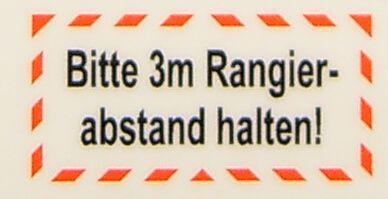 "Metin etiketi ""Rangierabstand 3m"" 2-line öz"