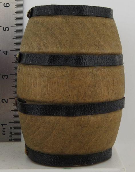 1 drewniana beczka 5,0cm wysokie, brązowe, m.Metall- pierścienie