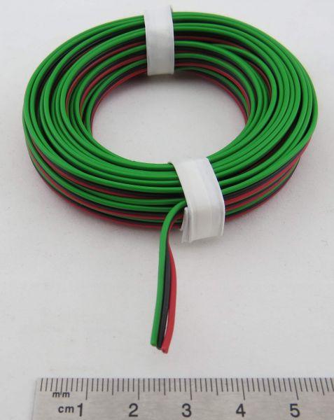 Drillingslitze 0,14qmm, 5m-Ring. Kupferlitze, rot-schwarz-gr