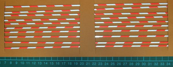 Warnstreifenset 2mm stripe width, 45 °, red / white reflective,