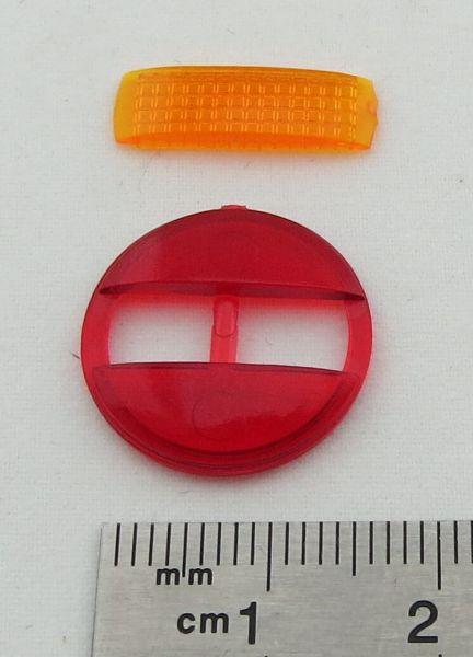 Lenses (1 set) for 3 chamber rear lights red / orange