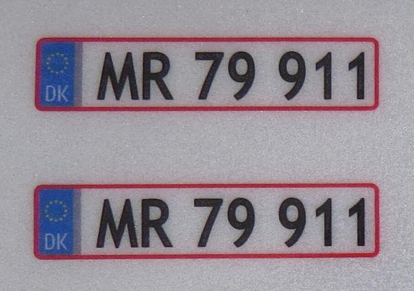 1x Set of license-plates for DENMARK. 2 plates,