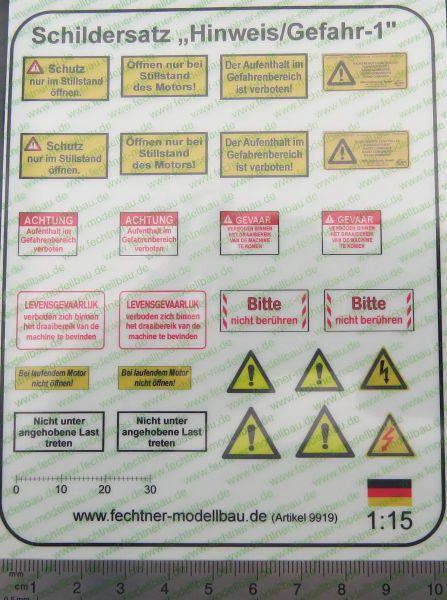 """1x Decalbogen, Selbstklebefolie """"Hinweis /Gefahr-1"""" M1:15"""
