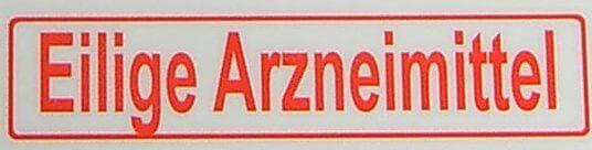 "Metin etiketi ""parça Arzneimi .."", kırmızı, 1: 12 kendini"