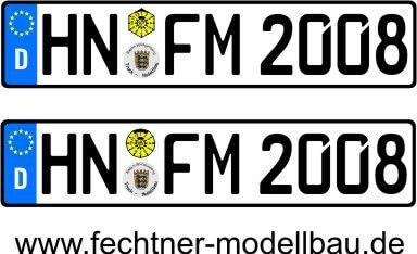 """Euro-Kennzeichen-Set """"EINZEL"""" 1-1-S-8 2 WUNSCHkennzeichen,"""