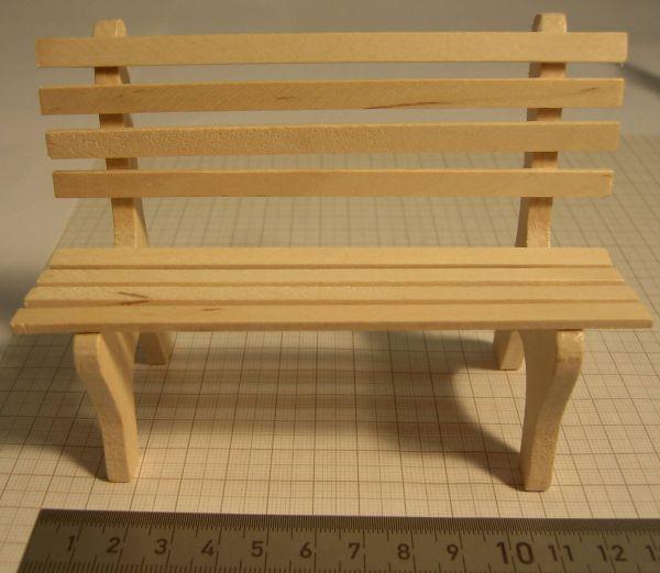 Szeroki 1x Park Bench 12,5 cm (1: 16) drewno, naturalne,