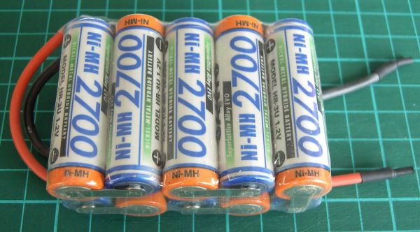 Battery pack with 10x SANYO cells 12V F5x2 10 cells 2700mAh