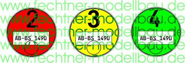 Feinstaubplakettenset 1:14 rot/gelb/grün passend zu Maßstab
