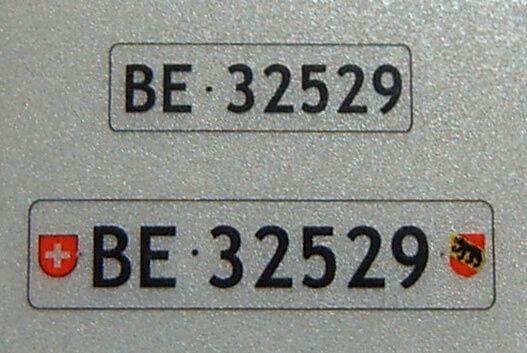 set nummernschilder f r schweiz 2 kennzeichen sets ch kennzeichen fechtner modellbau shop. Black Bedroom Furniture Sets. Home Design Ideas