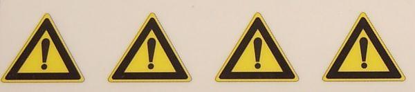 Warndreieck-Symbole-Set 14mm hoch, 4 Symbole, gelb/schwarz