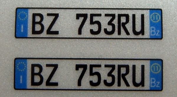 Set of license-plates for ITALY. 2 plates,
