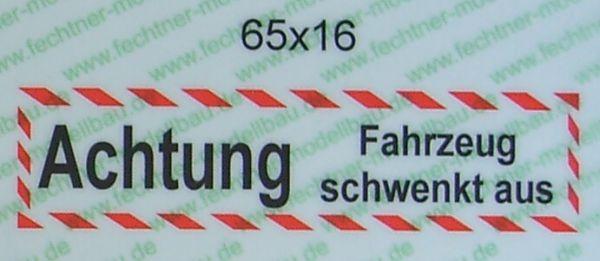 """Textschild """"ACHTUNG Fahrzg.schwenkt aus"""" selbstklebende"""