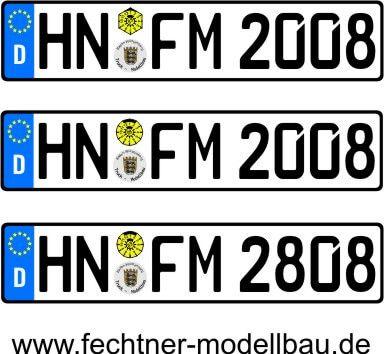 1 Euro-Kennzeichen-Set ZUG 1-1-1-S-8R, 3