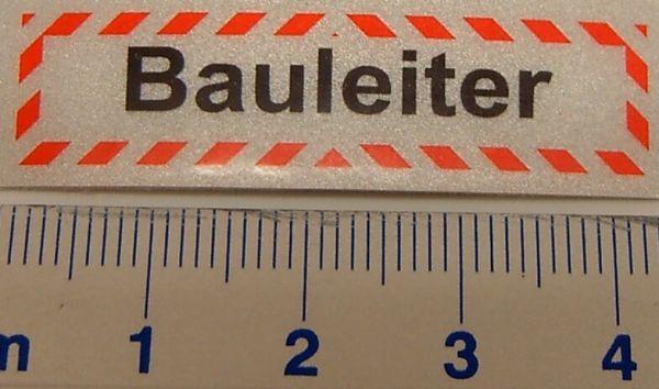"""Textschild """"Bauleiter"""" 1-zeilig, selbstklebende Folie mit"""