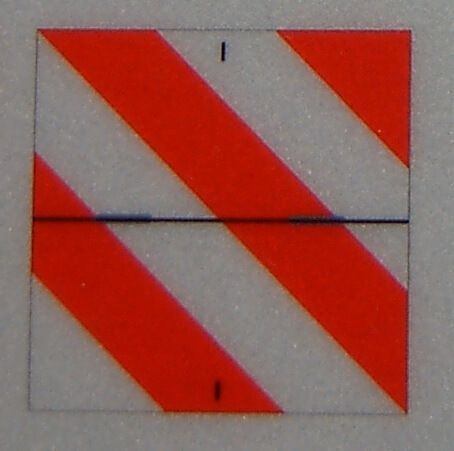 1 parking sign, pointing right, reflective with indicated