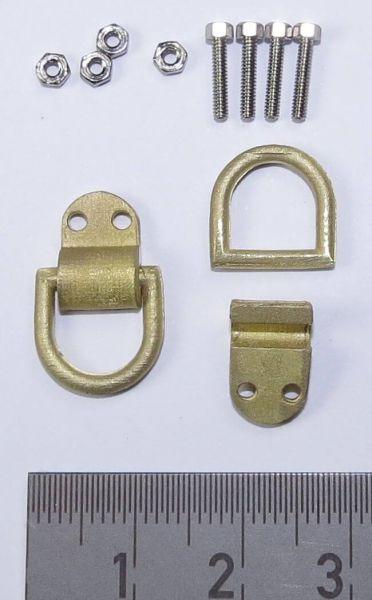 1 Paar D-Ringe mit Befestigungsmaterial, Messing-Feinguss