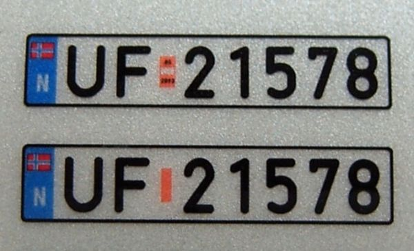 Set of license-plates for NORWAY. 2 plates,